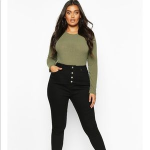 Boohoo Plus Button Front High Waist Skinny Jeans